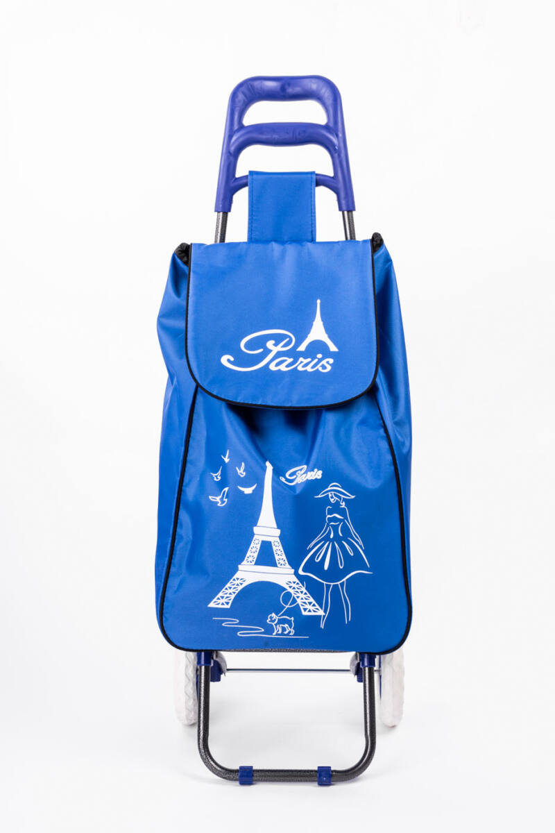 Nagy Kerekű Kék Eiffel Torony Mintás Bevásárló Kocsi