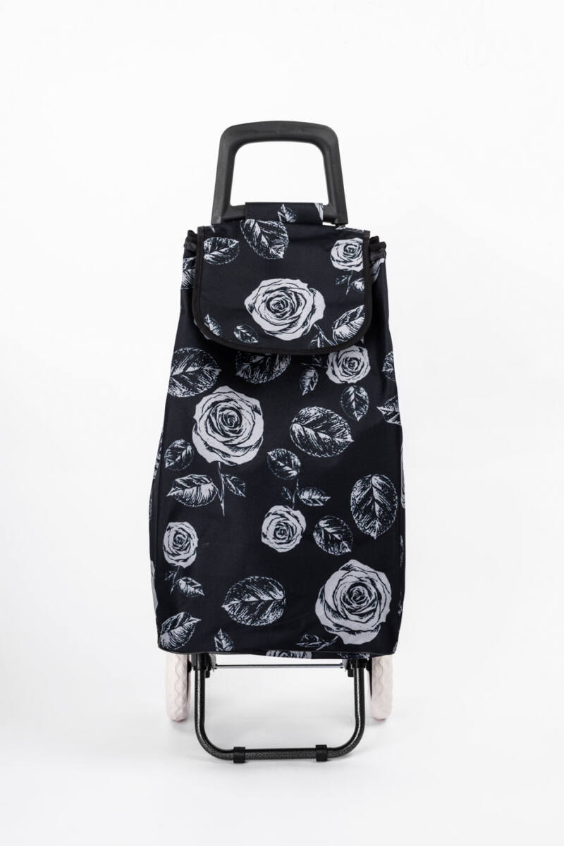 Fekete Rózsamintás Nagykerekű Bevásárlókocsi