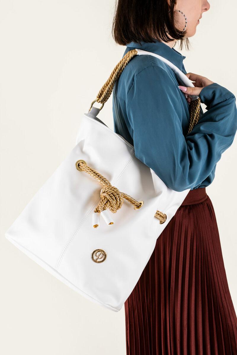 Prestige Fehér-Arany Női Rostbőr Válltáska