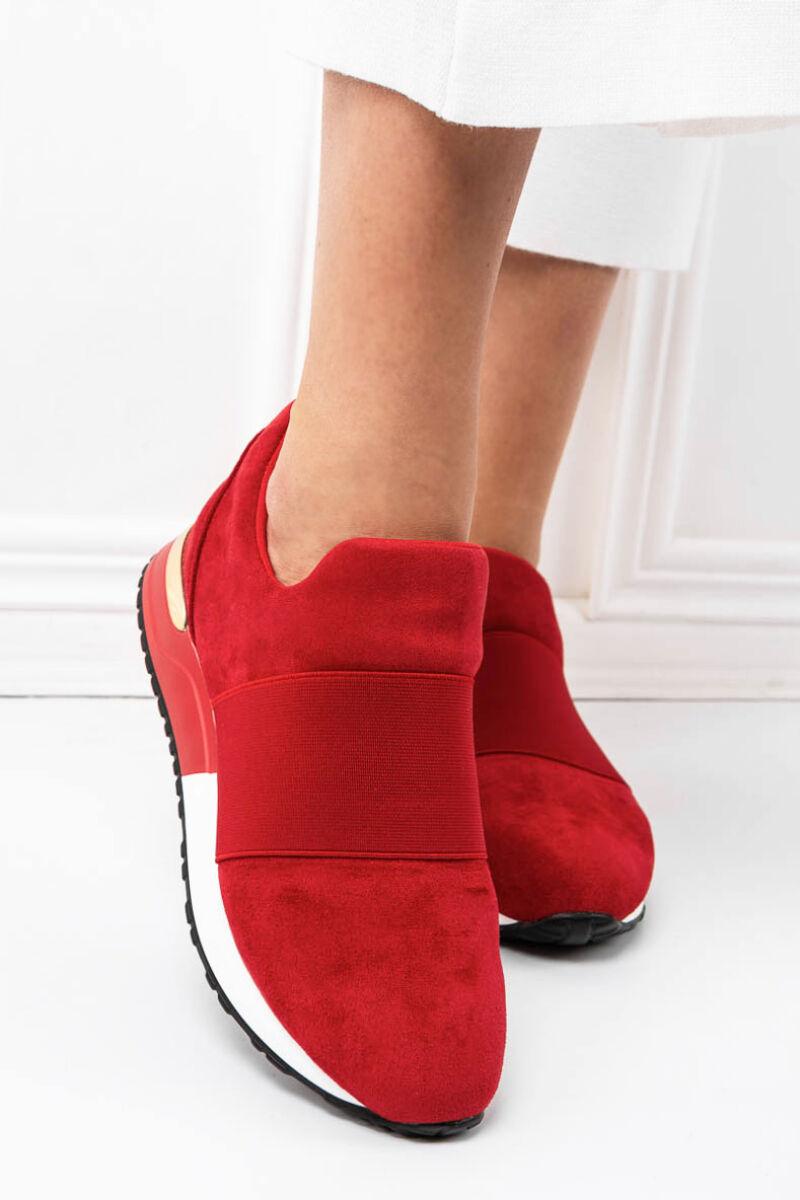 Piros Művelúr Belebújós Utcai Cipő
