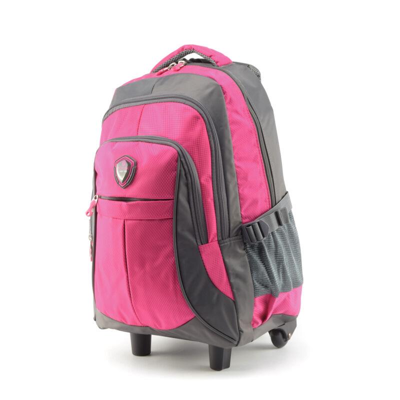 bca9ef9d9d Aoking szürke-pink gurulós poliészter hátizsák - Gurulós hátizsákok ...