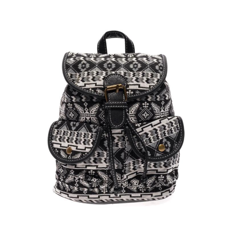 női fekete mintás vászon hátizsák - Vászon - Táska webáruház - Minőségi  táskák mindenkinek 0ebdb75036