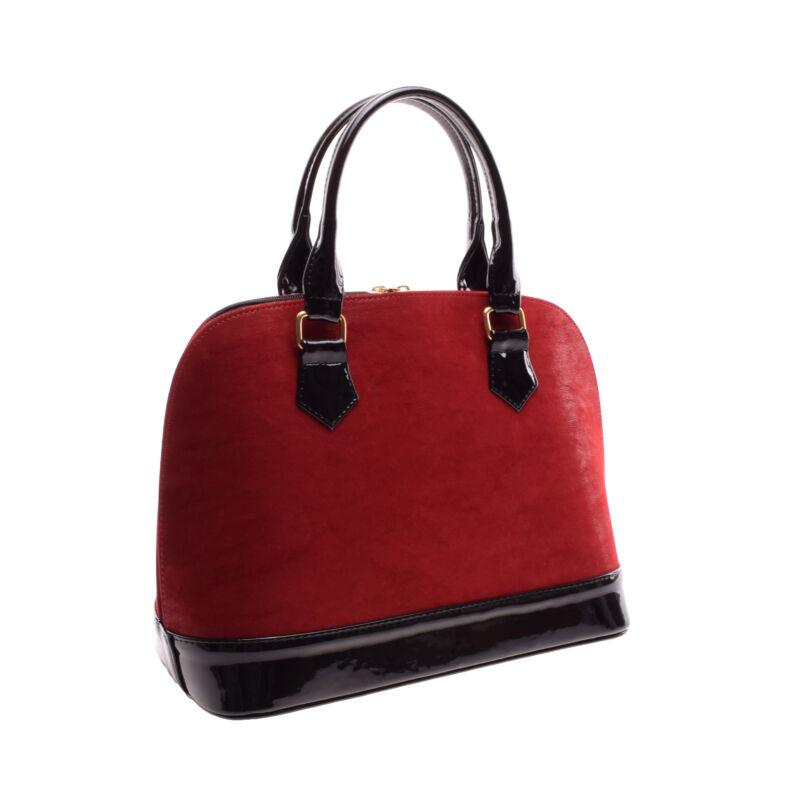 Prestige Női Fekete Piros Művelúr-Lakk Kézitáska - Válltáskák ... 990cbfa72a