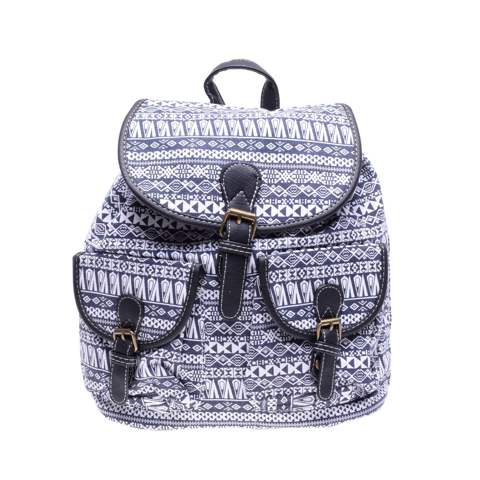 7af8cf60fac5 Mintás Fekete/Kék Női Vászon Hátizsák - Vászon - Táska webáruház - Minőségi  táskák mindenkinek