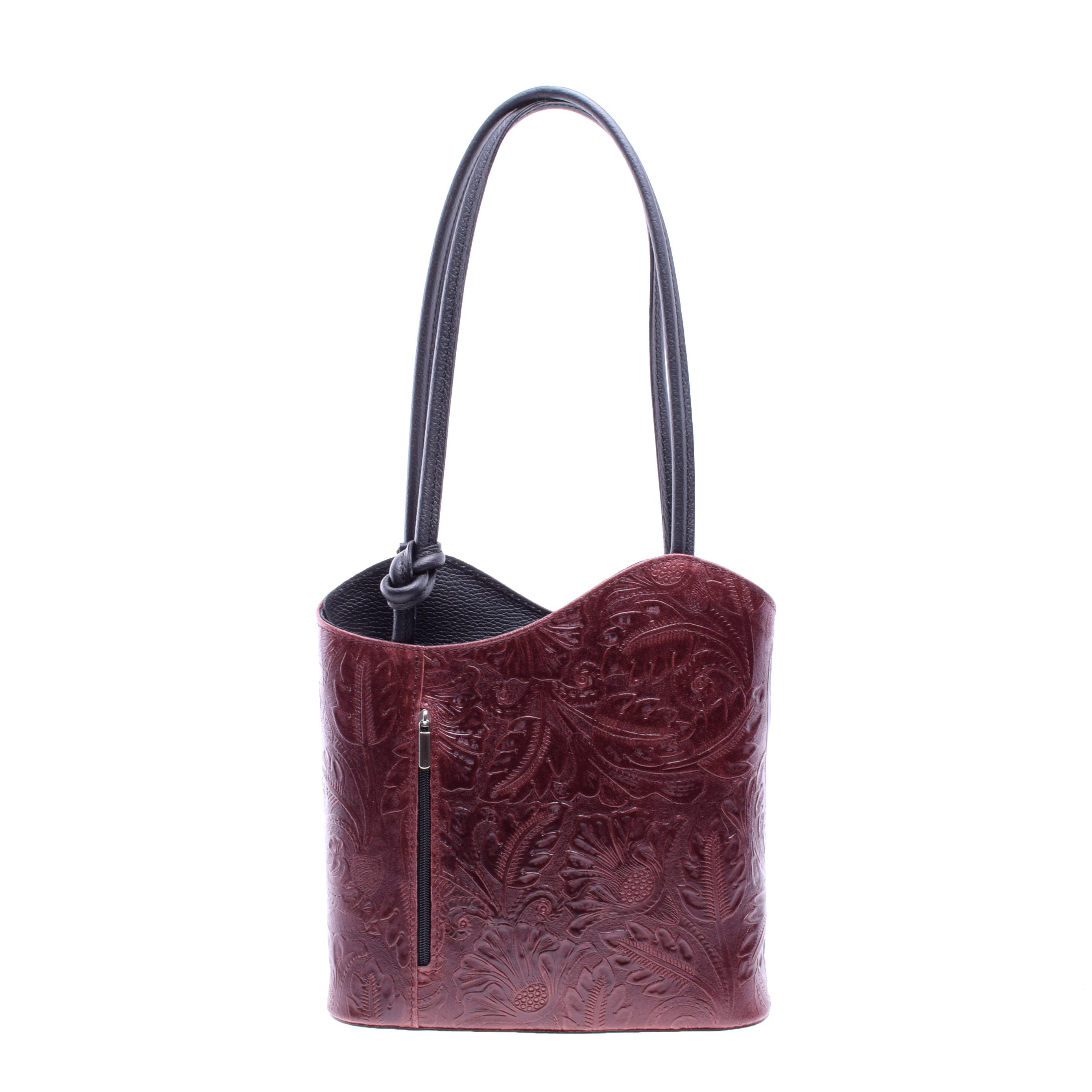 0b6ef5eacb Besty Valódi Bőr Nyomott Mintás Bordó Színű Válltáska/Hátizsák - VALÓDI  BŐRTÁSKÁK - Táska webáruház - Minőségi táskák mindenkinek