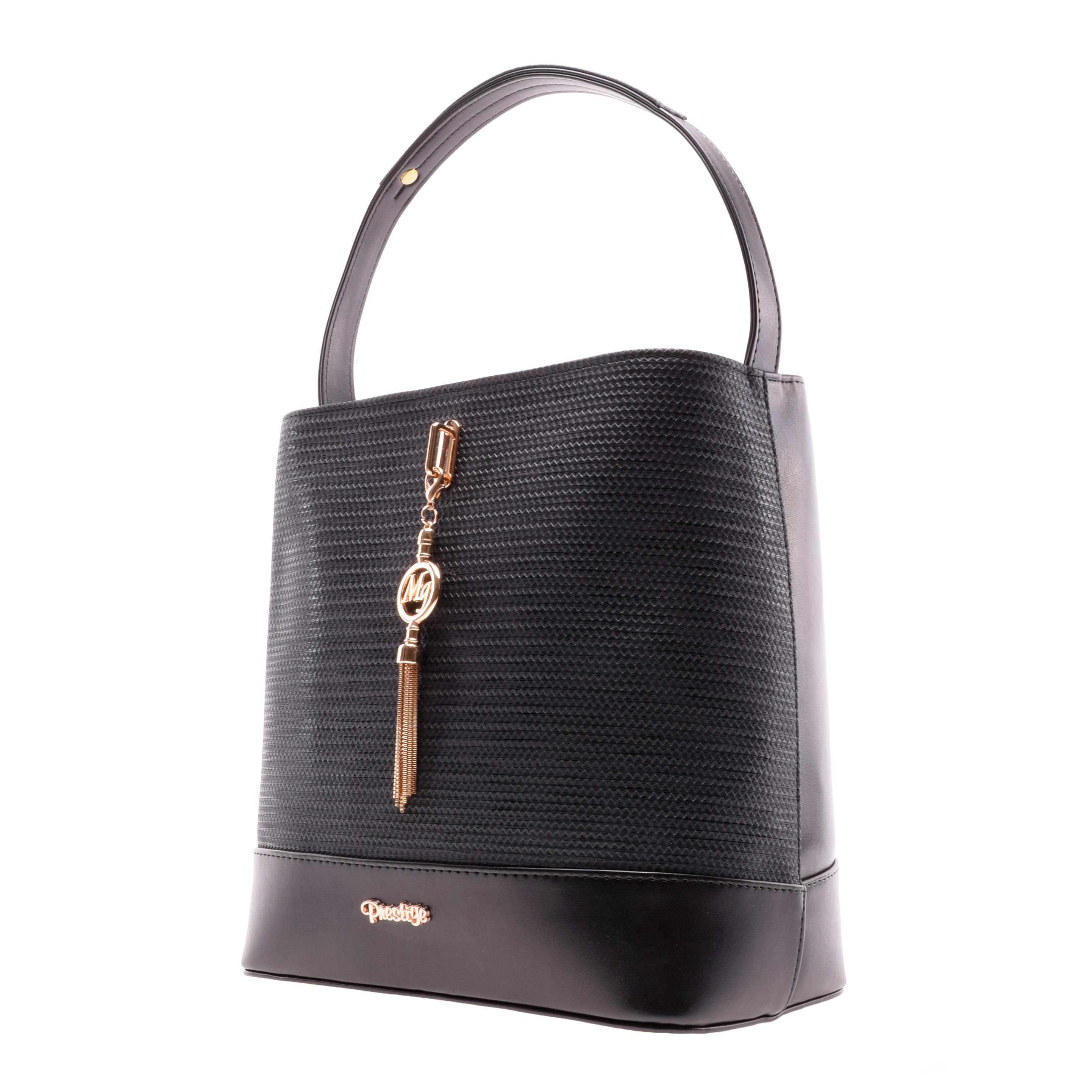 f051660e7a88 Prestige Elegáns Nagy Méretű Fekete Műbőr Kézitáska - Válltáskák - Táska  webáruház - Minőségi táskák mindenkinek