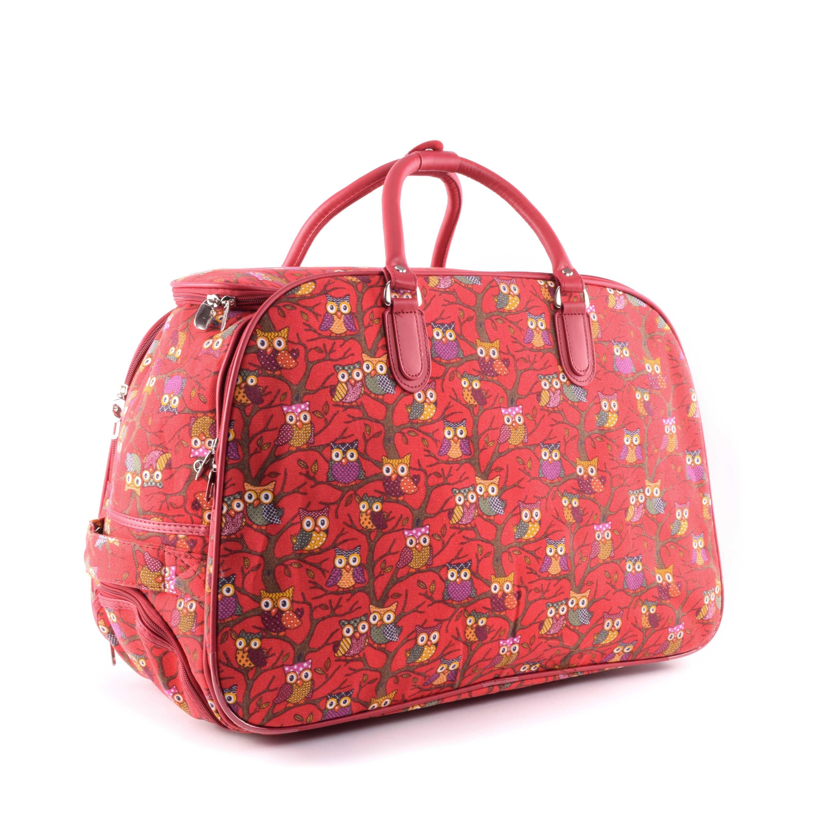 Besty Közepes Méretű Bagoly Mintás Gurulós Utazótáska piros - KÖZEPES MÉRETŰ  UTAZÓTÁSKA - Táska webáruház - Minőségi táskák mindenkinek 5bf46993b7