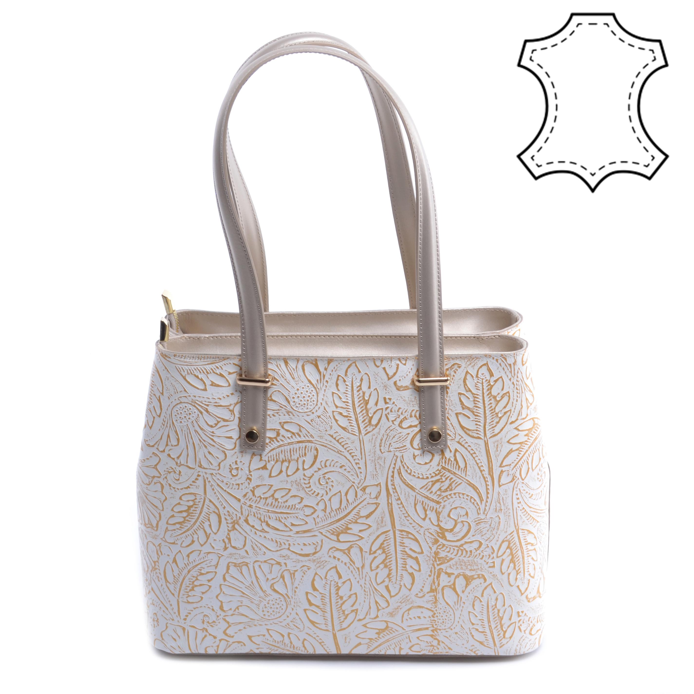 d5058e7ce799 Arany-Fehér Női Valódi Bőr Válltáska - Válltáskák - Táska webáruház - Minőségi  táskák mindenkinek