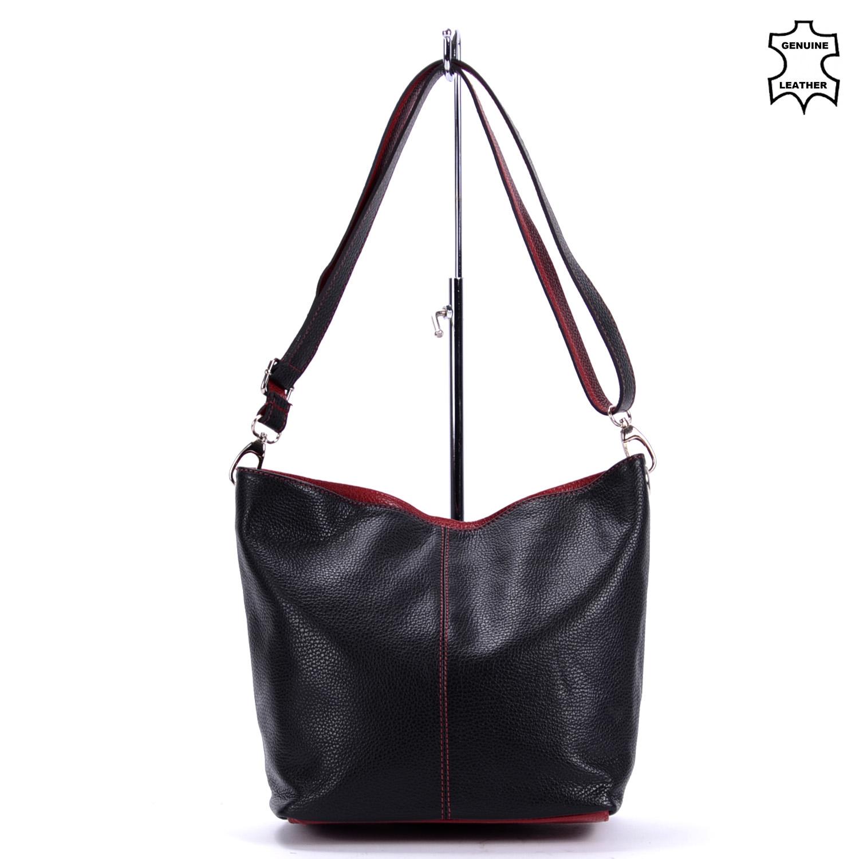 d3cf71edf944 Besty Női Közepes Méretű Valódi Bőr Fekete/Piros Válltáska - VALÓDI  BŐRTÁSKÁK - Táska webáruház - Minőségi táskák mindenkinek
