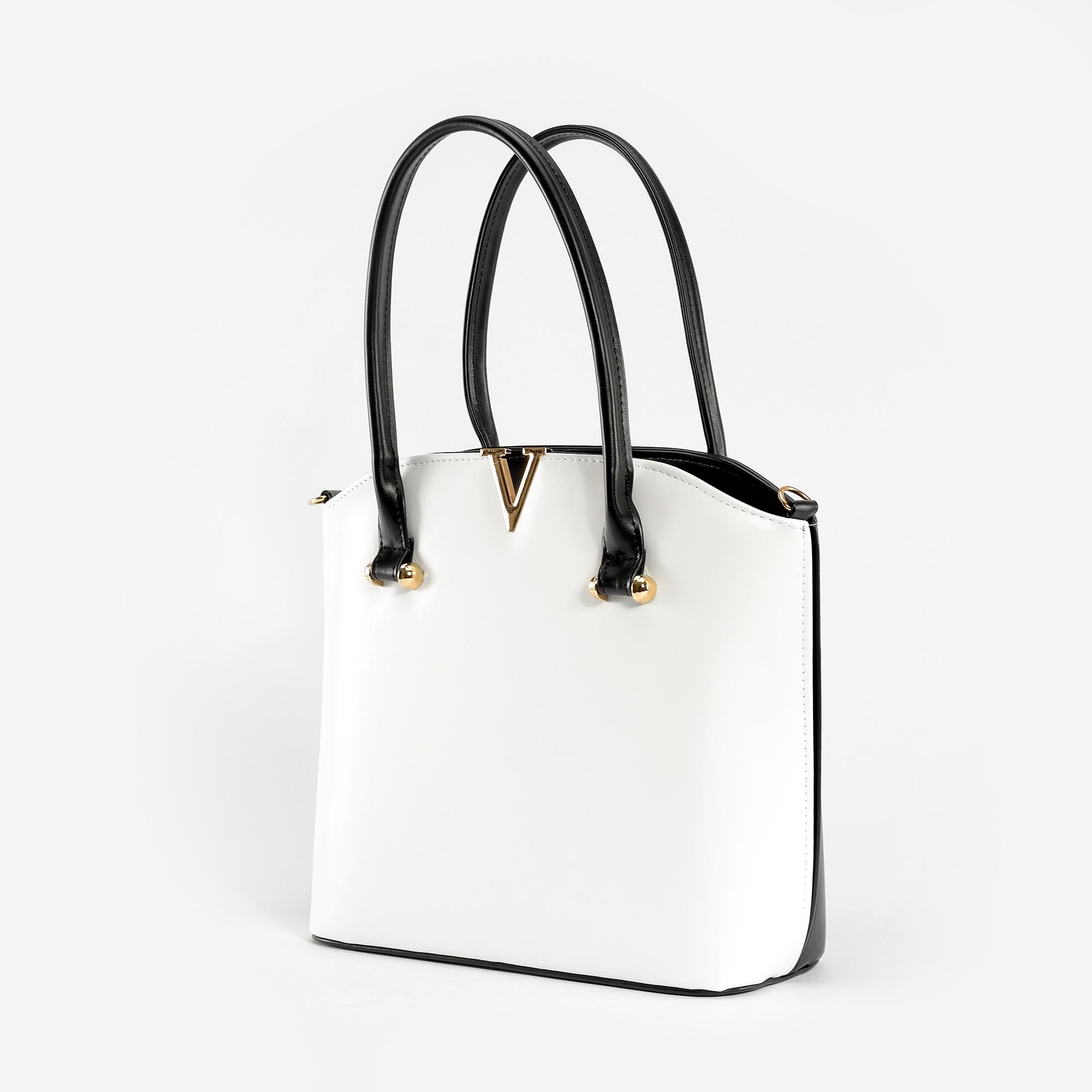 edb2febbfb24 Prestige Fekete-Fehér Női Rostbőr Válltáska - Válltáskák - Táska webáruház  - Minőségi táskák mindenkinek