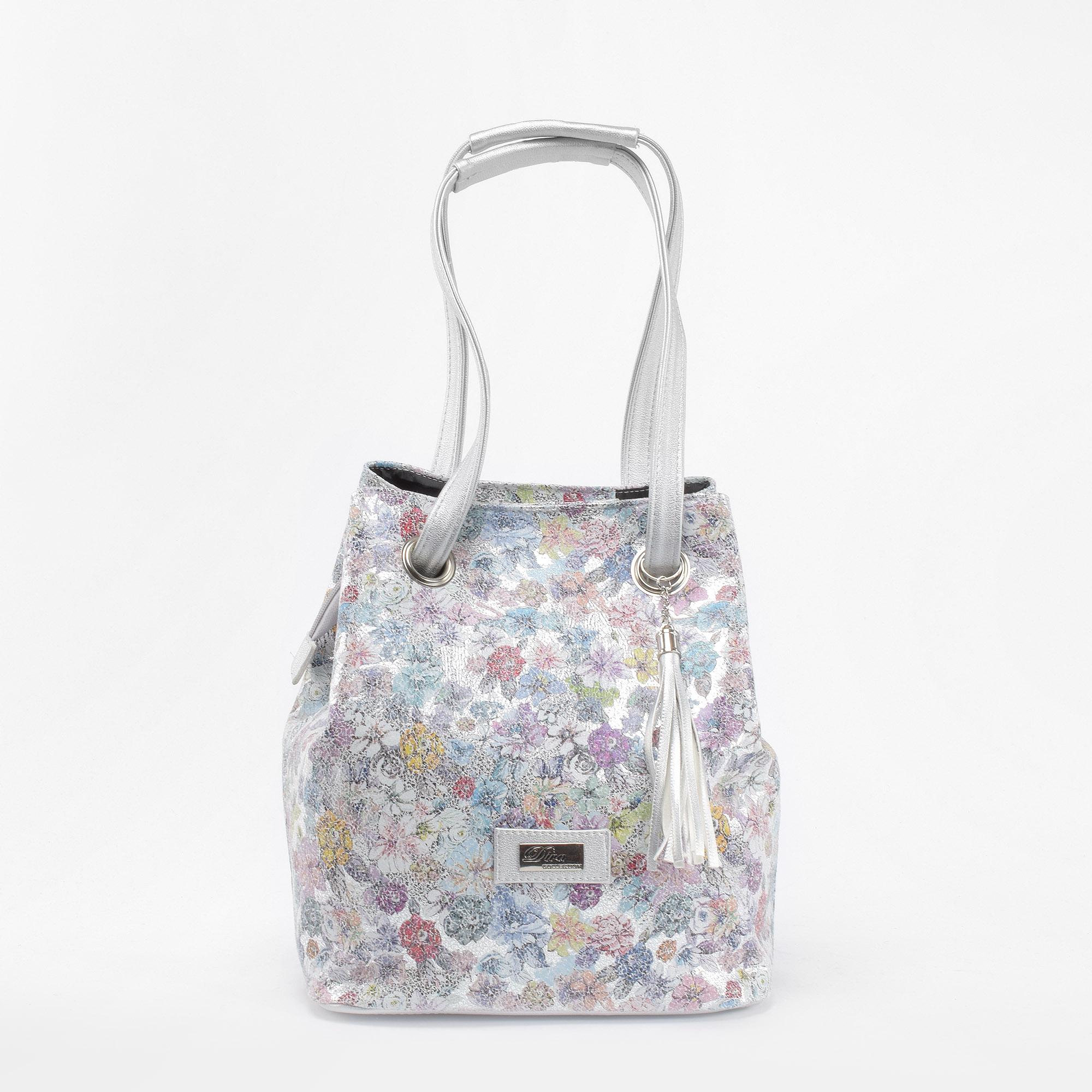 666b90f7309a Diva Ezüst-Virágos Női Rostbőr Kézitáska - Válltáskák - Táska webáruház - Minőségi  táskák mindenkinek