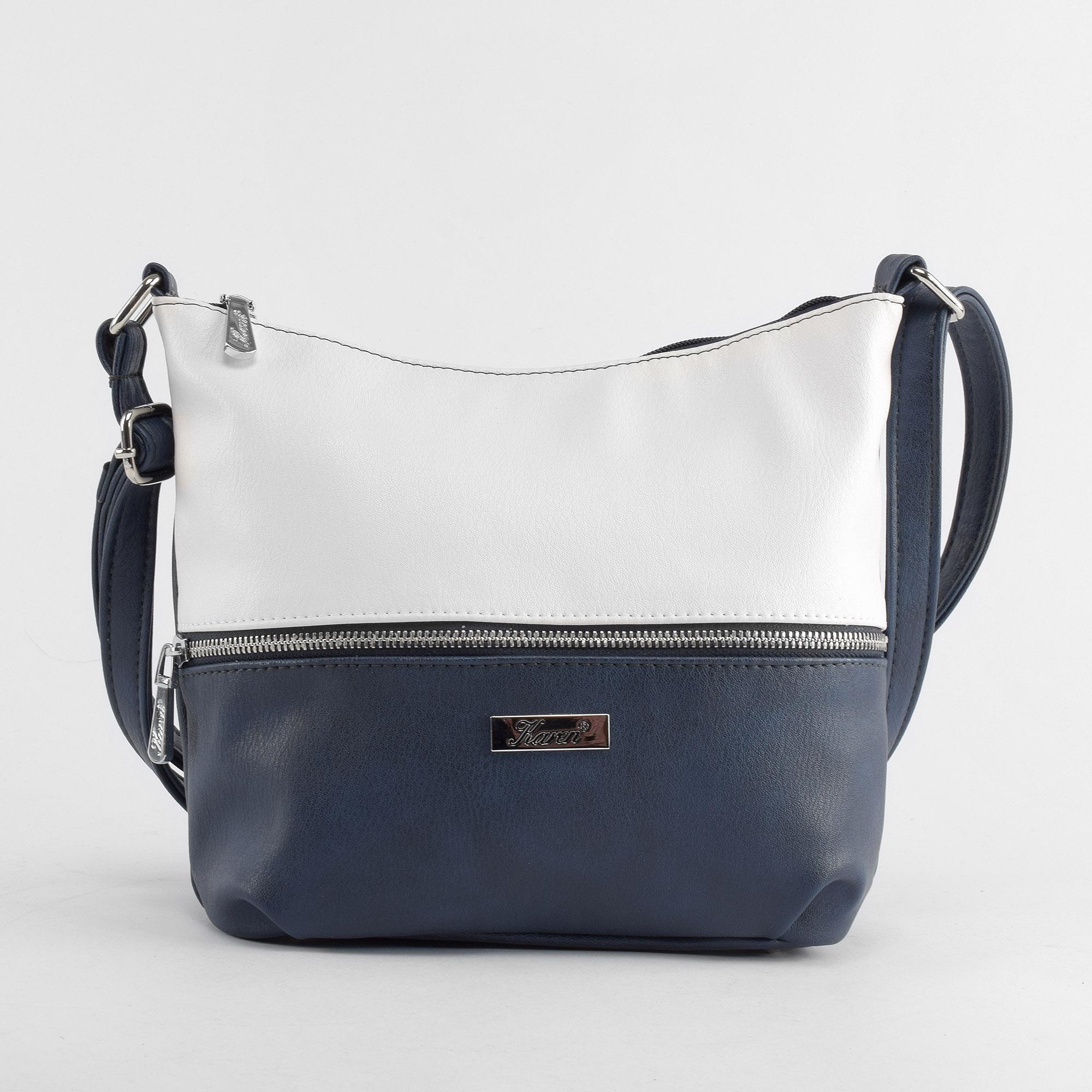 7a2715e1f1 Karen Kék-Fehér Női Rostbőr Válltáska - Válltáskák - Táska webáruház -  Minőségi táskák mindenkinek