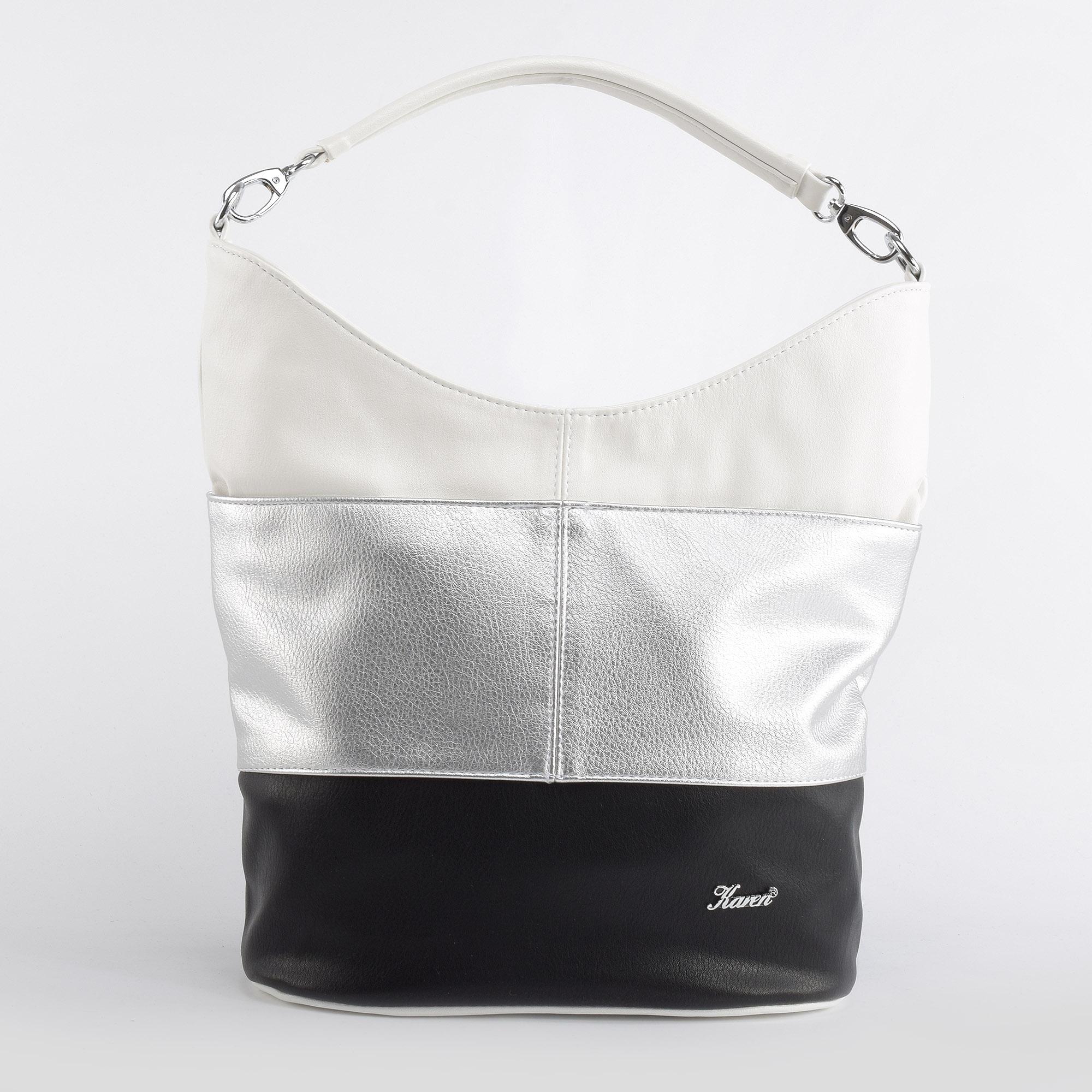 d94829f7cf Karen Női Ezüst Csíkos Rostbőr Válltáska - Válltáskák - Táska webáruház -  Minőségi táskák mindenkinek