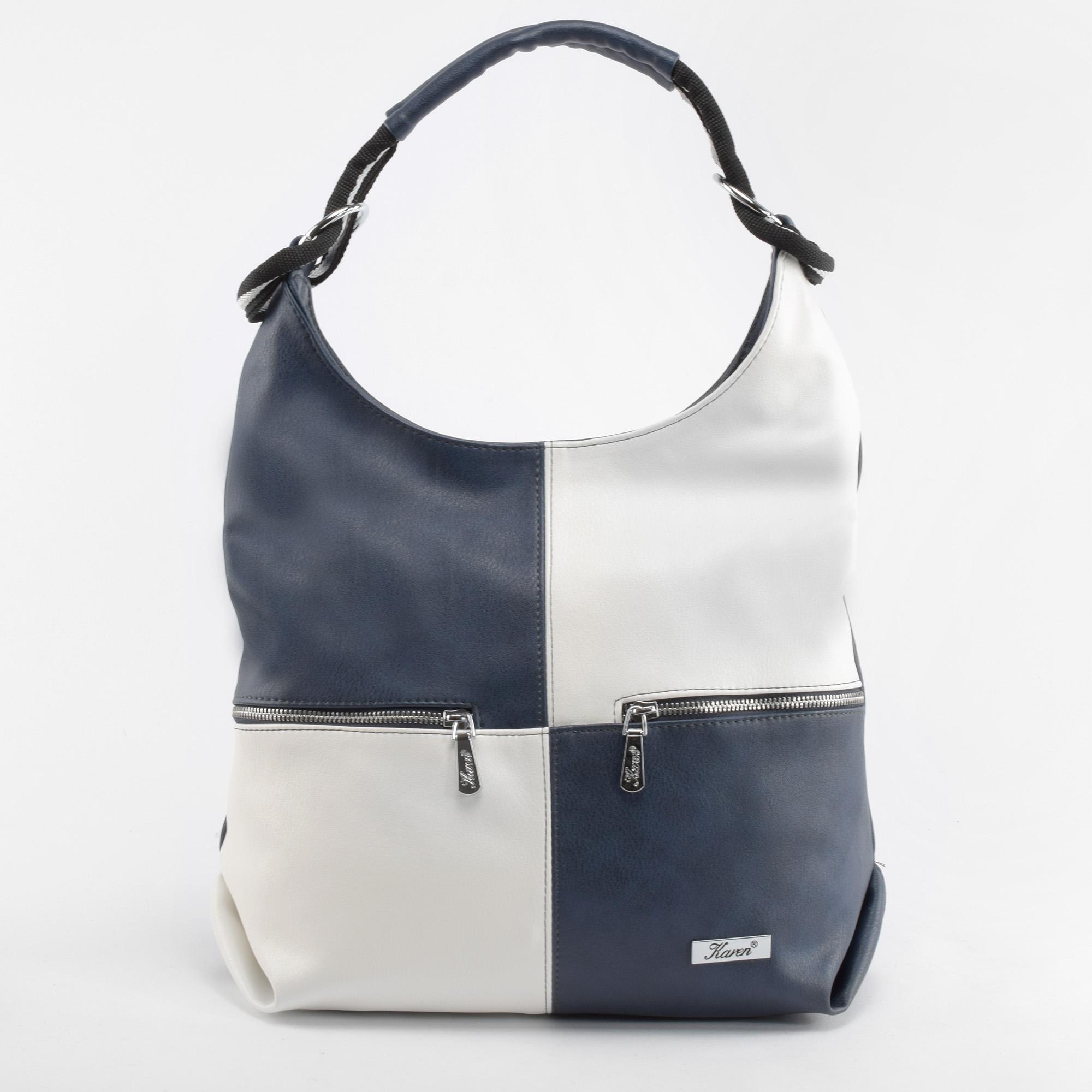 3f246f5133 Karen Kék-Fehér Rostbőr Válltáska - Válltáskák - Táska webáruház - Minőségi  táskák mindenkinek