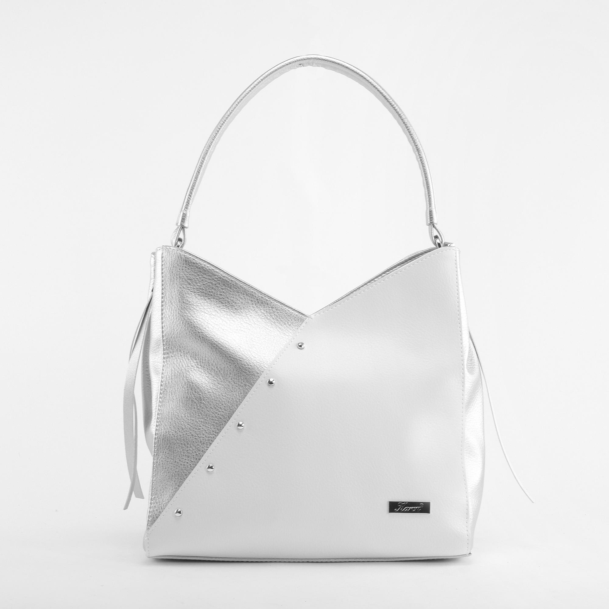 854fd86f28c7 Karen Ezüst-Fehér Női Szegecses Rostbőr Válltáska - Válltáskák - Táska  webáruház - Minőségi táskák mindenkinek