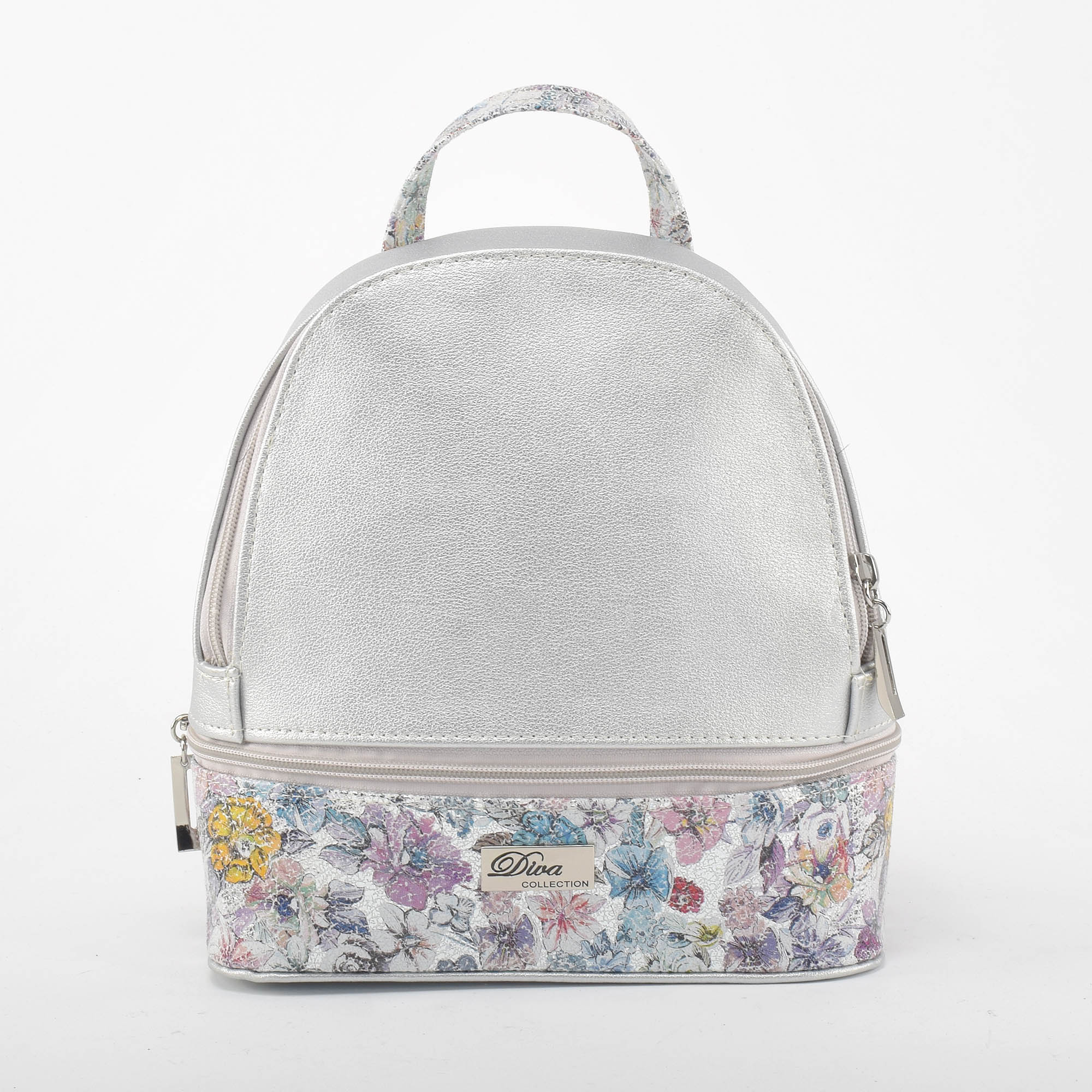 1282d483307a Diva Női Ezüst virágos Műbőr Hátizsák - Műbőr - Táska webáruház - Minőségi  táskák mindenkinek