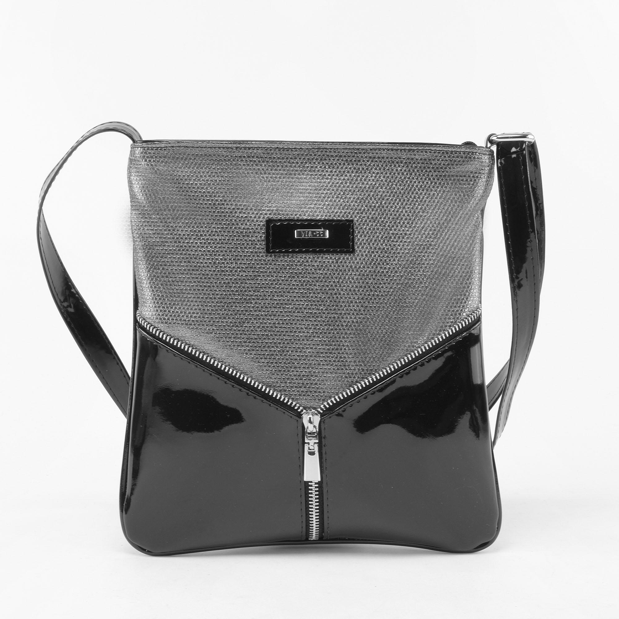 116e4182f7 VIA.55 Női Fekete Rostbőr Válltáska - Oldaltáskák - Táska webáruház -  Minőségi táskák mindenkinek