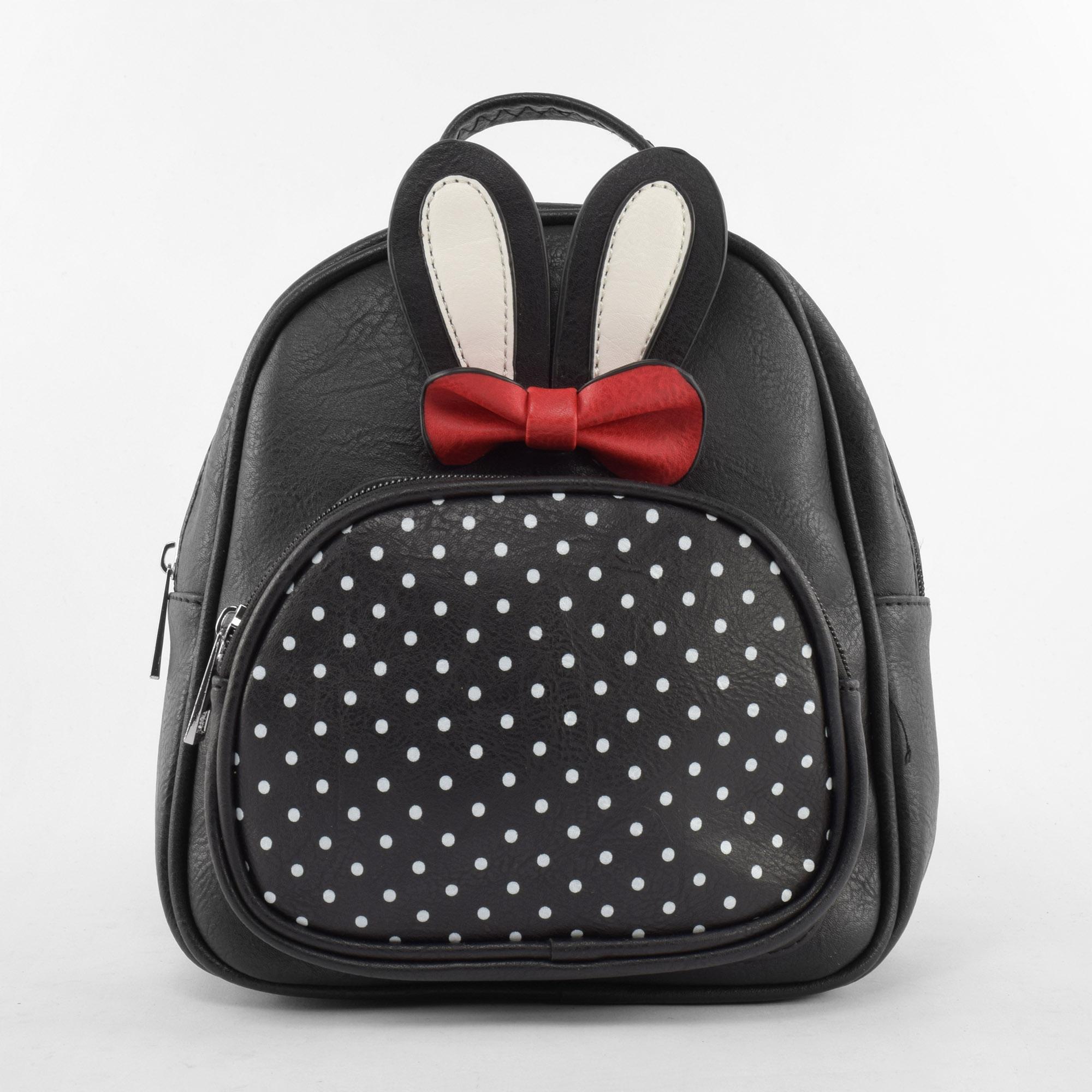 c9f3e245bfd9 Női Fekete Nyuszifüles és Pöttyös Műbőr Hátizsák - Műbőr - Táska webáruház  - Minőségi táskák mindenkinek