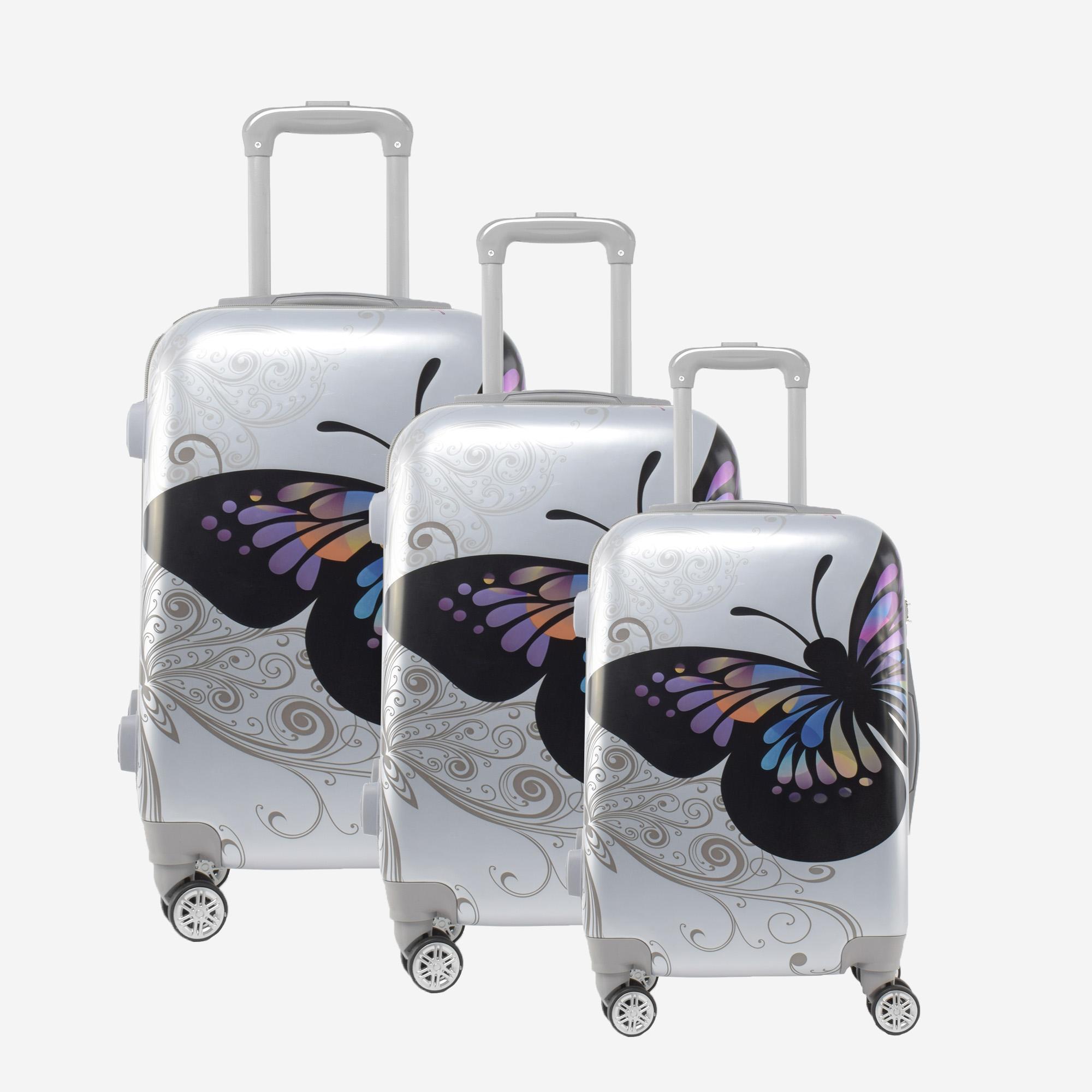 cc5120bb9a04 Ormi Ezüst Pillangós Kemény Bőrönd Szett - BŐRÖND SZETTEK - Táska webáruház  - Minőségi táskák mindenkinek