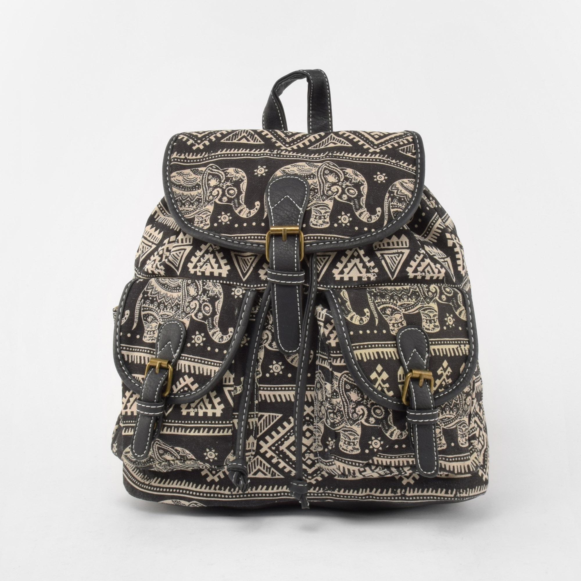 a1bcfa13387b Női Elefánt mintás Fekete Vászon Hátizsák - Vászon - Táska webáruház -  Minőségi táskák mindenkinek